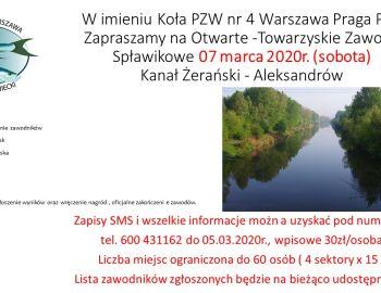 Otwarte -Towarzyskie Zawody Spławikowe 07 marca 2020r. (sobota)